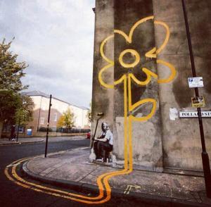 Banksy Yellow Lines Sunflower